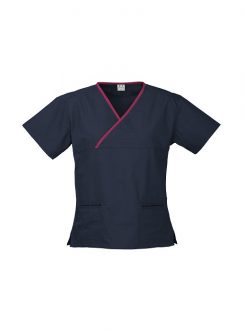 Ladies Contrast Crossover Scrubs Top H10722 Navy Fuchsia
