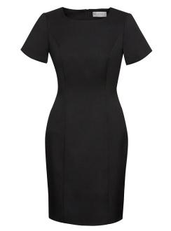 Ladies Short Sleeve Shift Dress 30112 Black