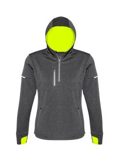 Ladies Pace Hoodie SW635L Grey FluoroYellow