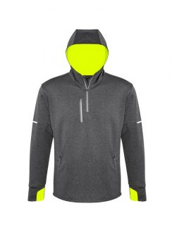 Mens Pace Hoodie SW635M Grey Fluro Yellow