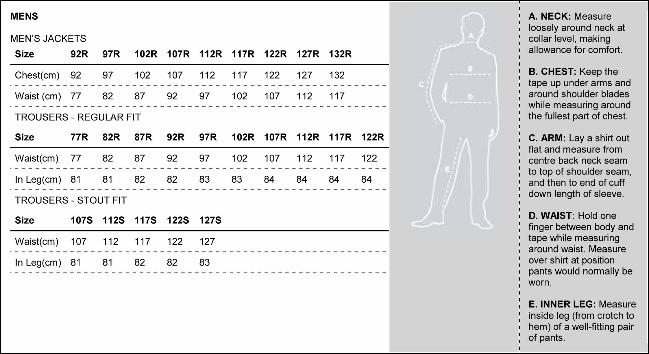 Sizing Guide Online Uniforms