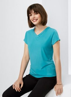c613dc8938337 Ladies Shimmer Tie Neck Top by Biz Collection - Online Uniforms